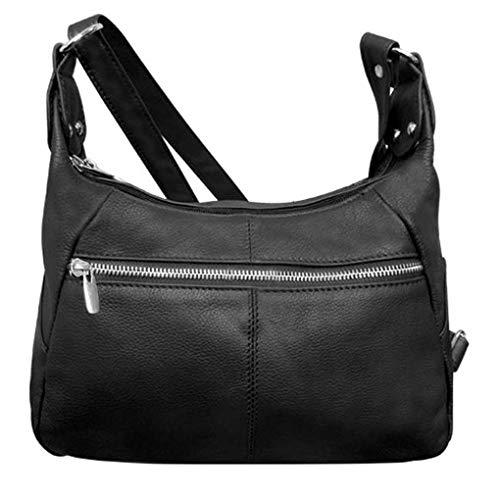 2 Entry Cross Shoulder Leather or Body Fever Black Silver Handbag BwqZ8zn