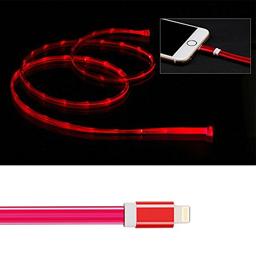 3ft Visible Flowing LED USB Cable Sync Data Fast Charger Cord for iPhone Xs MAX/XR/ /8/8 Plus/7/7 Plus/6/6 Plus, iPod and iPad and More-with Cell Phone Finger Ring Stand(Rose red)