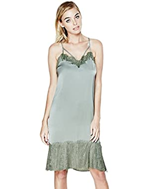 GUESS Serena Lace Mix Slip Dress