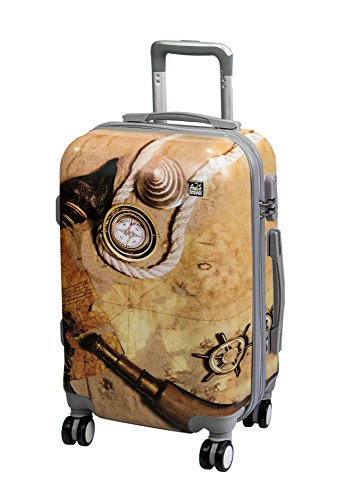 on Map 55x35x22cm Polar Suitcase 8 Durable Lightweight Carry Wheels with Shell amp; Cabin Luggage Treasure Hard Bear A2S Airplanes Bag Spinner OqpwO