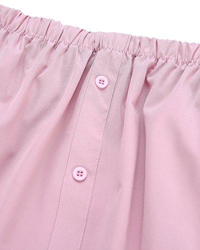 T Manica Vestito Corto StyleDome Donna Lunga Abito Nuovo Casual Rosa Top shirt Elegante Maglietta SaqWFw