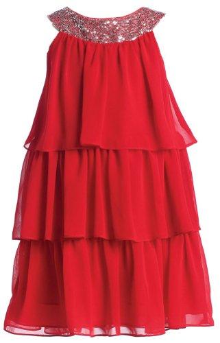 Sweet Kids Big Girls' Triple Tiered Chiffon Dress 14 Red (Sk 3707) ()
