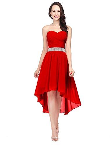 Abendkleid Clearbridal Abschlusskleider Chiffon Ballkleid Cocktailkleid Bandeau Rot CSD400 Asymmetrisch Damen S6qAgqwX