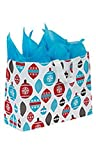 "Large Holiday Ornaments Frosted Shopping Bags - 16""L x 6""D x 12 ½""H - Case of 100"