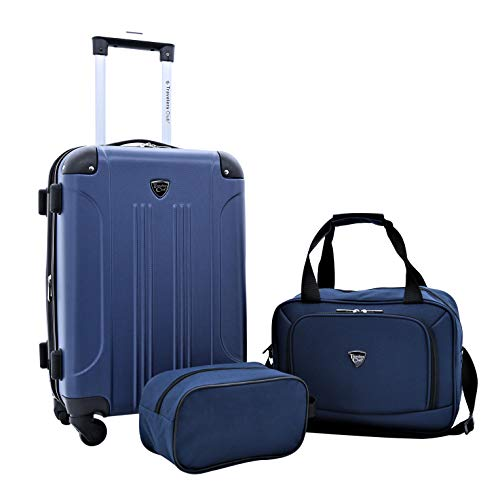 Travelers Club 3 Piece Set Chicago Plus Luggage and Accessories Set, Navy Blue Option (Piece 3 Travelers Club)
