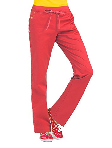 Med Couture Signature Yoga Drawstring Scrub Pant for Women, Tangerine/Honey, Medium Petite ()