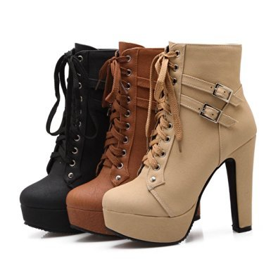 Susanny Women Autumn Round Toe Lace up Ankle Buckle Chunky High Heel Platform Knight Black Martin Boots 10 B (M) US (CN Size_42) by Susanny (Image #2)