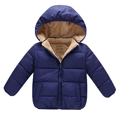 (Goodkids Baby Girls Boys' Winter Fleece Jackets with Hooded Toddler Cotton Dress Warm Lined Coat Outer Clothing(Blue 100))