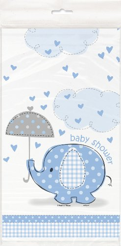 Baby Shower Table Cover - Blue Elephant Boy Baby Shower Plastic Tablecloth, 84