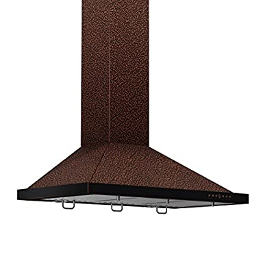 Z Line 8KBE-30 760 CFM Wall Mount Range Hood with Embossed Copper Finish, 30""
