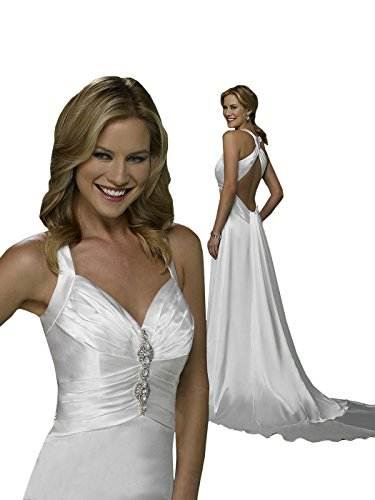 Wedding Dress Sexy Cheap Simple Bridal Gown 310205 Low Back - White, size 4 - Beaded Strap Charmeuse Dress