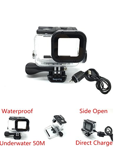 Housing Case 50m Underwater Diving Camera Protective Frame For GoPro Hero 6 Hero 5 Black Action Camera Underwater Waterproof case Protective Housing Shell Cover Protective Side Open Case by JEERUI