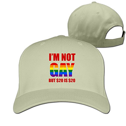 Unisex I'm Not Gay But $20 Is $20 Adjustable Snapback Baseball Cap Natural One Size