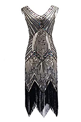 U.mslady 1920s Dress V Neck Beaded Sequin Deco Gatsby Inspired Flapper Dress with Sleeveless