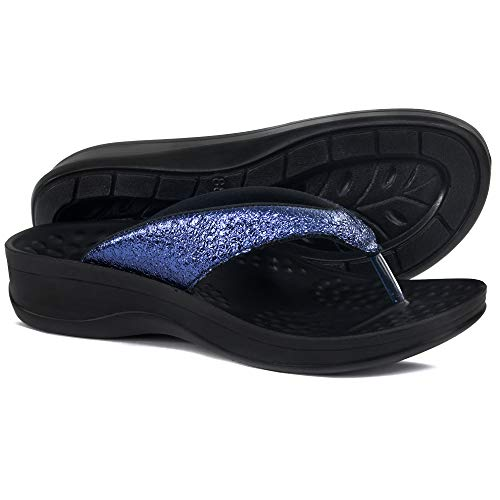 (AEROTHOTIC Comfortable Orthopedic Arch Support Flip Flops and Sandals for Women (06 - Aerothotic (US 05 / EU 36), Sequin Blue))