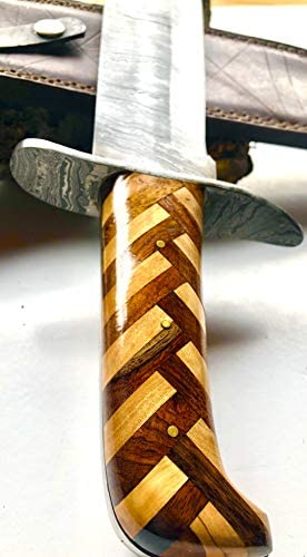 ZYZO Custom Hand Made Forged Classic 15.3 Bowie Hunting Knife Damascus Blade- Beautiful Walnut and Olive Wood Handle