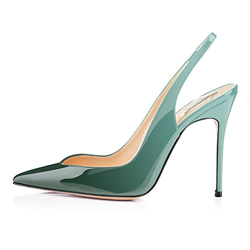 Slingback Pumps Pumps Cute Stilettos Leather Toe Emerald Point Patent 10CM Evening Shoes Modemoven Heels Women's 80xwtT