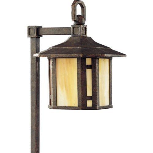 Progress Lighting P5272-46 1-Light Path Light with Honey Art Glass and Mica Accent Panels, Weathered Bronze by Progress Lighting