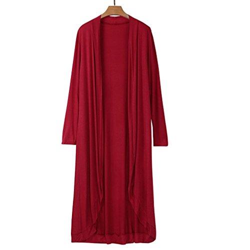 Toamen Mujer Outwear Blusa Chaqueta De Manga Larga De Manga Larga Maxi Cardigan Rojo