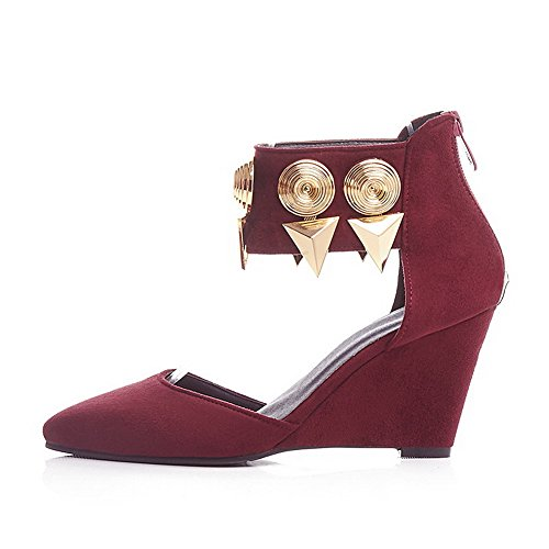 Frosted Sandals Heels Solid Women's AllhqFashion Red Closed Toe Zipper High Pointed 56nSnq
