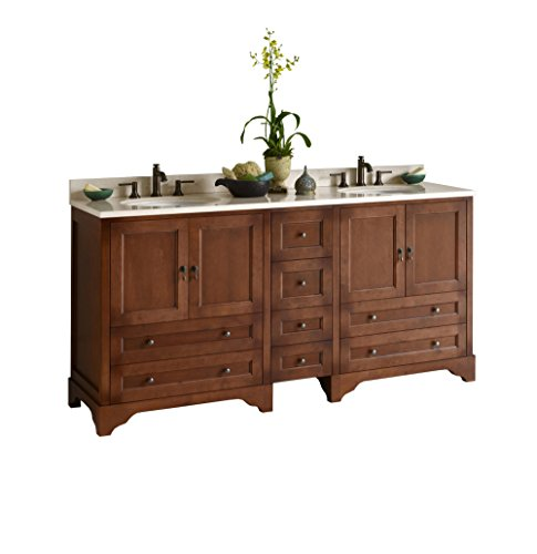 RONBOW Milano 73 inch Bathroom Vanity Set in Colonial Cherry, Bathroom Vanity with Top and Backsplash in Marble, Vanity Cabinet with White Oval Ceramic Sink