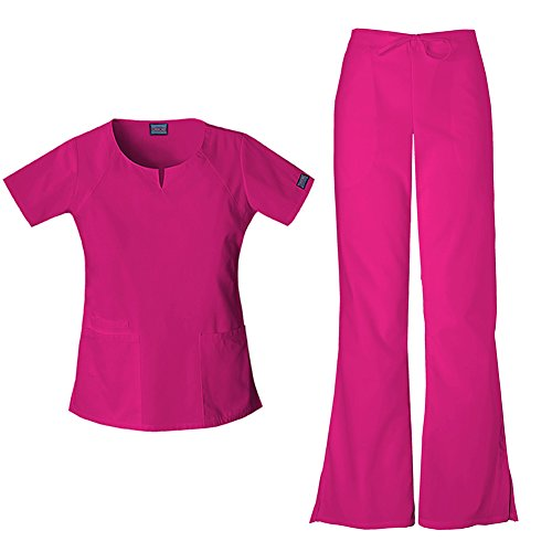 Cherokee Workwear Round Neck Top 4824 and Cherokee Workwear Drawstring Pant 4101 (Raspberry - Large)