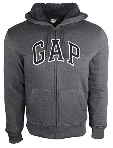 (GAP Men's Sherpa Arch Logo Full Zip Winter Hoodie (XS, Charcoal (Black Logo)) )