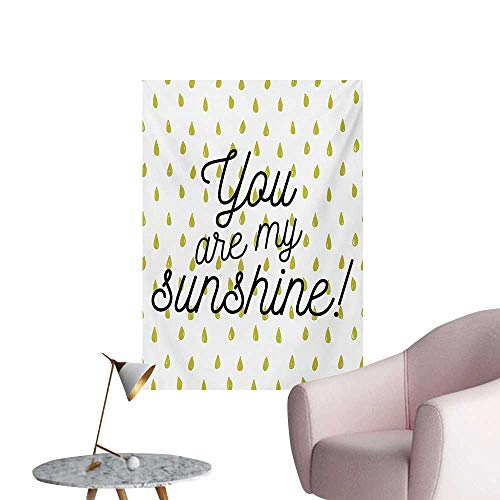 Anzhutwelve Quote Art Stickers Motivational Sunshine Quote Inspiration Print Colorful Raindrops on BackgroundMustard White W32 xL48 Poster -