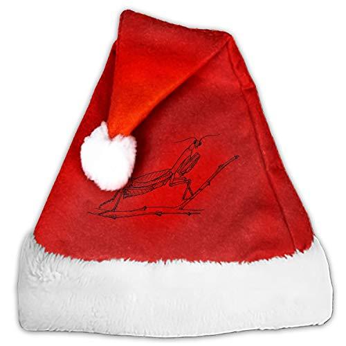Mantis Praying Entomology Santa Claus Cap for Unisex-Adults Xmas Party with Plush Trim and Comfort Liner ()