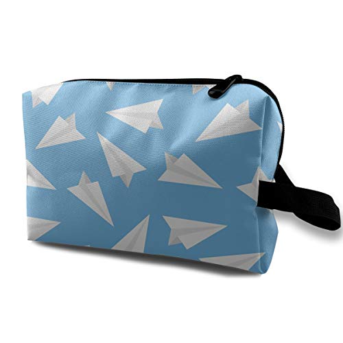 Louis Woodrow Blue Paper Plane Sublimated 3D Full Print Cosmetic Bag for Travel