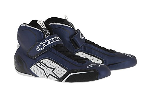 Alpinestars 2710115-7210-9.5 Tech 1-T Shoes, Blue/White/Black, Size 9.5, SFI 3.3 Level 5/FIA, Full-Grain Leather by Alpinestars