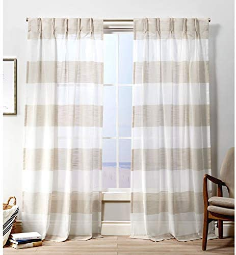 Exclusive Home Curtains Darma Pinch Pleat Curtain Panel, 50×108, Linen, 2 Panels
