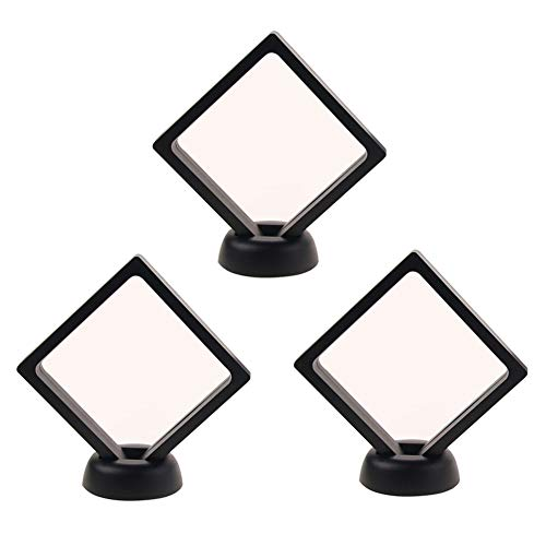 lasenersm 3 Pieces Coin 3D Display Stand Box Set Diamond Square Medallion Challenge Coin Chip Display Stand Holder 3D Floating Frame Display Stand Box for Coins Medallions Jewelry 4.33
