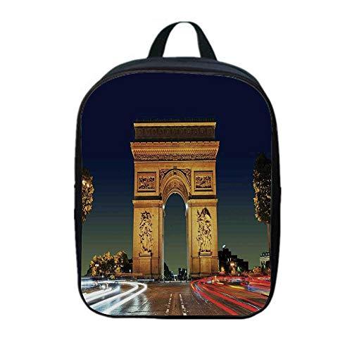 Paris Decor Canvas Backpack,Arc de Triomphe Paris France Touristic Entrance Roundabout Evening Sunset for Playgrounds,One_Size