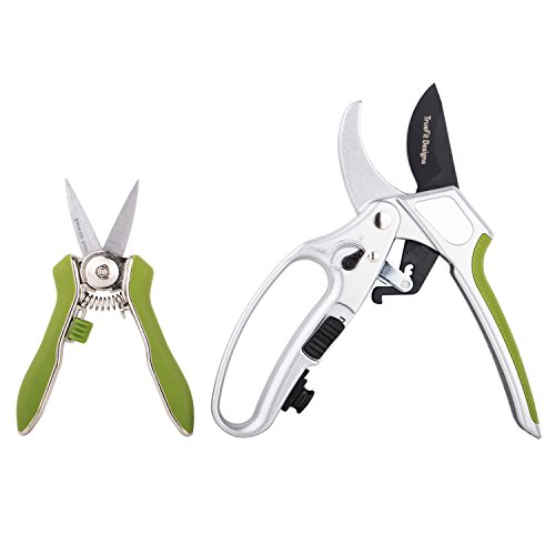 TrueFit Designs Ratchet Pruning Shears and Pruning Snips Set, Switch Ratcheting Shears to Single Cut Mode Pruner, Heavy Duty SK-5 Blade, Ergonomic Handles