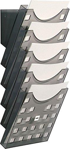 Helit H6103108 - Wandprospekthalter 5 Taschen, DIN A4, hoch, grau/transparent