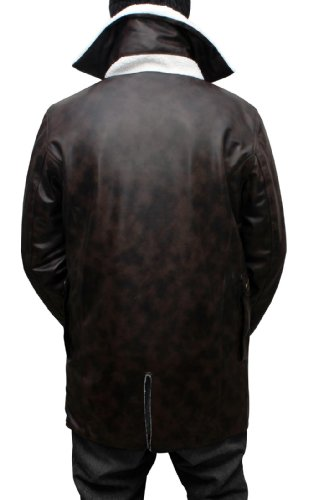 CosplayhiT Men's Shearling Synthetic Leather Coat