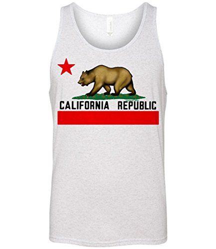 California Republic Borderless Flag Triblend Tank Top - White Fleck - Flecks Are What