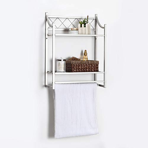 Home Zone Bathroom Storage Shelf Wall Mount Organizer with 2-Tiers and Mesh Shelving Pattern | Restroom Space Saver with Satin Nickel Finish (Classic Style)