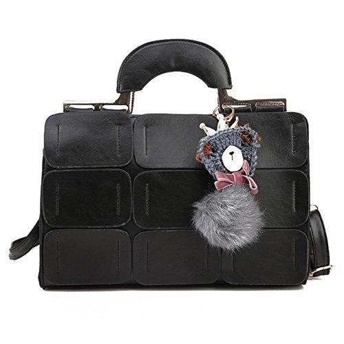 856store Clearance Sale Boston Style Women Tote Shoulder Crossbody Bag Nine Patch Messenger Handbag Black (Messenger Bag Boston)