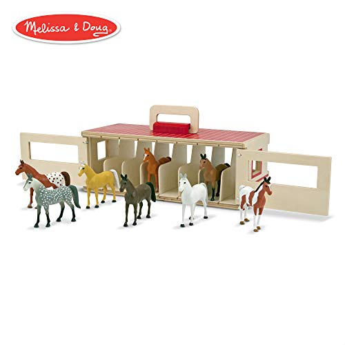 Melissa & Doug Take-Along Show-Horse Stable Play Set (Pretend Play, Encourages Creative Learning, 8 Toy Horses) -