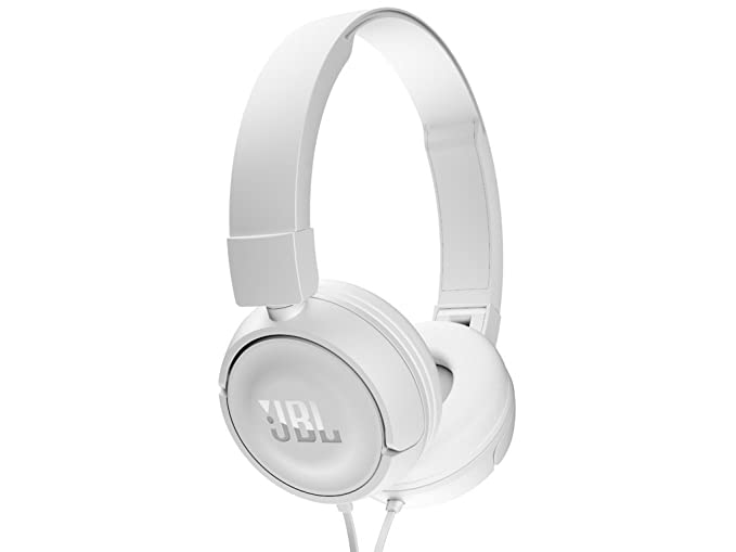 JBL T450 On Ear Headphones  White  Wired Headsets