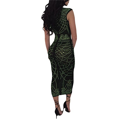 Women's Sexy Party Dress Through See Army Dress Mesh Green Bodycon ZqwIZr