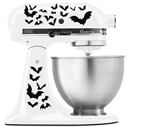 Halloween Spooky Bats Swarm - Vinyl Decal Set for Kitchen Mixers - Black ()