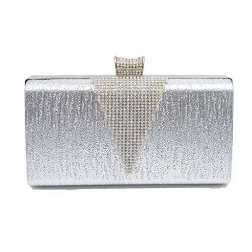 Embrayage Femmes PU Silver Sac Diagonale de Perceuse Épaule soirée Soirée Dîner Sac Sac Embrayages Square LIU qBf4Yw