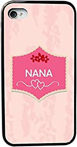 Rikki KnightTM Nana Name on Beautiful Tropical Pink Plaque Design on Peachy Pink Background with Red Flowers and Hearts Design iPhone 4 & 4s Case Cover (Black Rubber with bumper protection) for Apple iPhone 4 & 4s