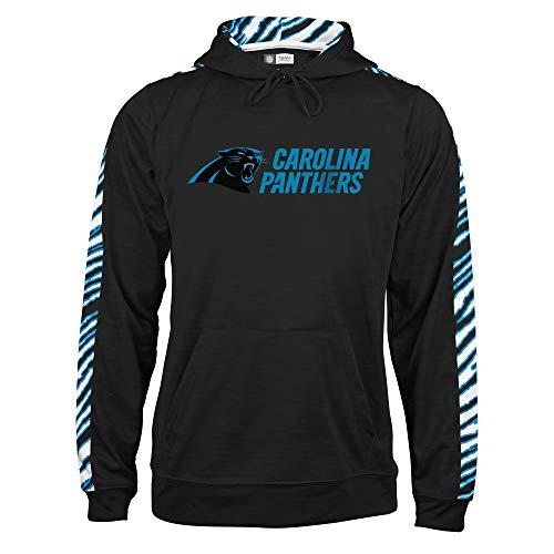 Zubaz NFL North Carolina Panthers Mens Pullover Hood, Black/Panther Blue, ()