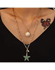Woeoe Layered Gold Necklace Multi-Layered Pearl Shell Necklaces Starfish Bar Y Choker Jewelry for Women and Girls