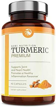 Nobi Nutrition Turmeric Curcumin with Bioperine and 95 Curcuminoids – Back Pain Relief, Joint Support and Anti Inflammatory – Tasteless Black Pepper for Quick Absorption – 90 Vegan Capsules
