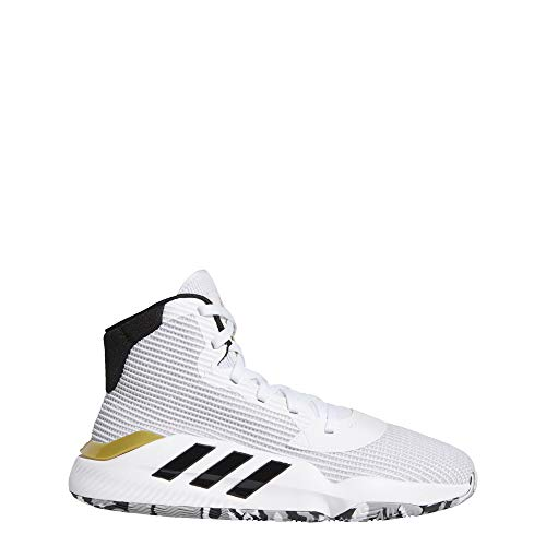 adidas Men's Pro Bounce 2019 Basketball Shoe, White/Black/Gold Metallic, 11 M US